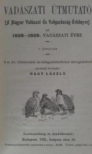 vadászati útmutató évönyv 1928