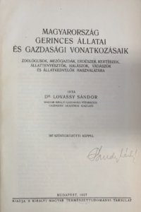 Lovassy Sándor - Magyarország gerinces állatai es gazdasagi vonatkozasai